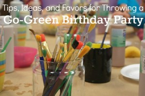 Instead of plasti bags of junk food, paint favors together at the party. More Go Green birthday party tips @UntrainedHW