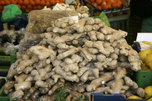 Fresh ginger root on sale at a market