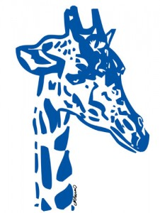 Giraffe Poster Blue Preview