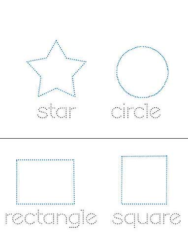 Printable Shape Practice Sheets for Kids preview - dotted