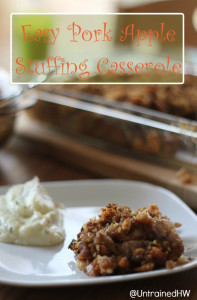 Easy Pork Apple Stuffing Casserole