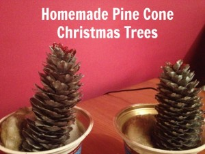 Homemade pine cone Christmas tree decorations