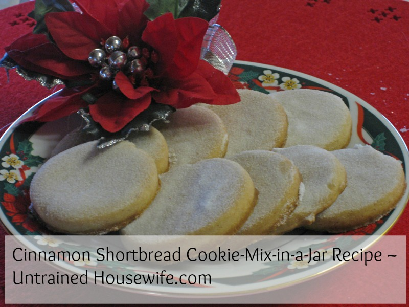 cinnamon shortbread cookie mix in a jar at the untrained housewife