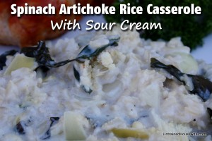 Artichoke and Spinach Casserole with Rice and Sour Cream