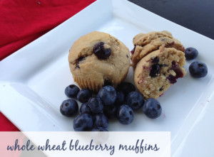 Whole wheat blueberry muffins with local produce