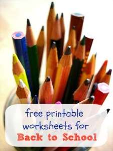Free Printable Worksheets for Back to School
