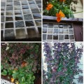 Grouted tile and finished planter with plants.