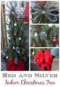 Country indoor Christmas Tree in Red Silver