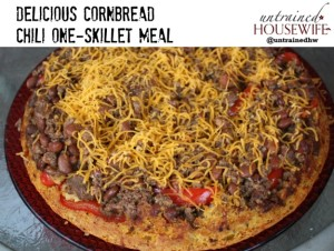 One skillet meal - delicious cornbread chili