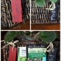 Indoor herb planter box with wooden tags