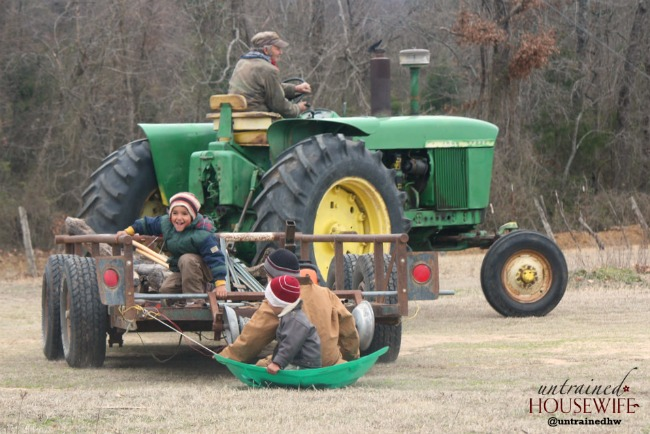 Papa Giving Tractor Rides