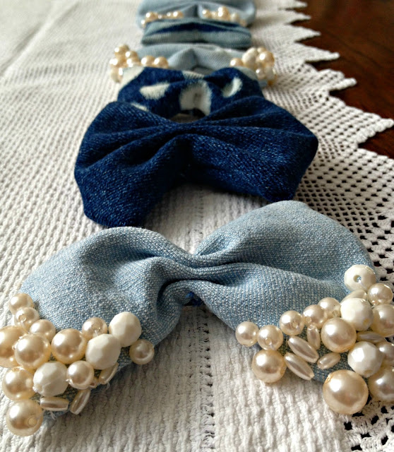 DIY Hair bows - Denim scraps tutorial
