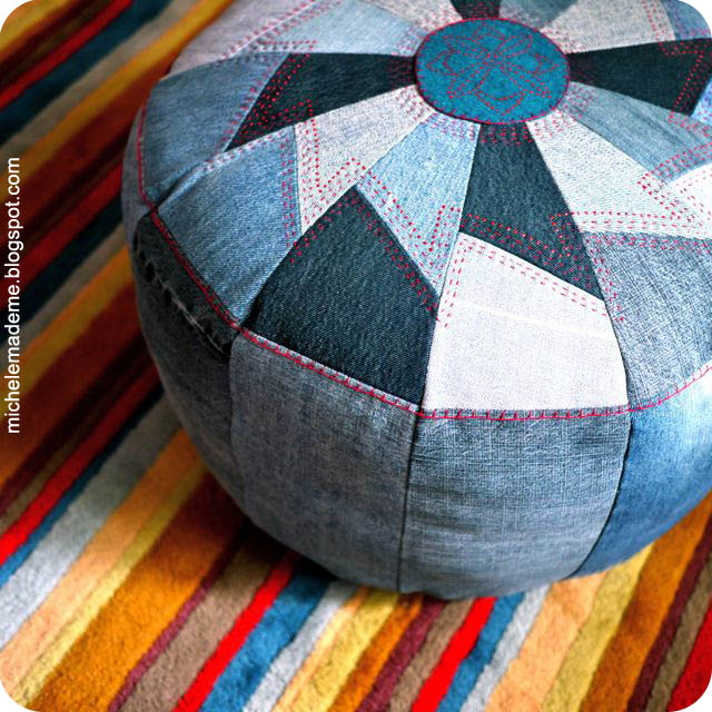 One Tough Denim Pouf