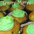 Holiday green maraschino cherry muffins