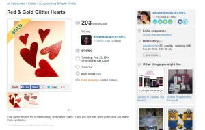Here are the glitter hearts I auctioned. Can you believe they came from a greeting card?