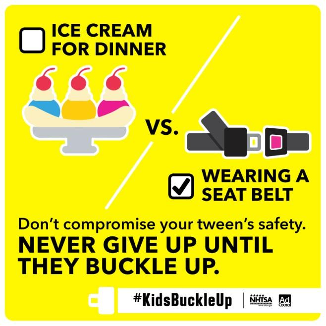 Tweens buckling up shouldn't be an area of compromise.