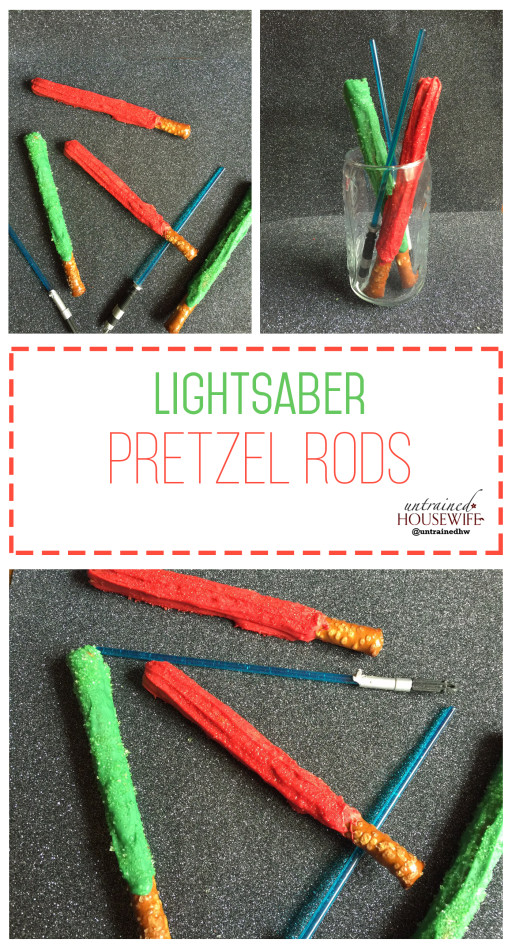 Lightsaber Pretzels #Recipe Super Fun for Kids and Adults! @UntrainedHW #StarWars #SnackIdeas