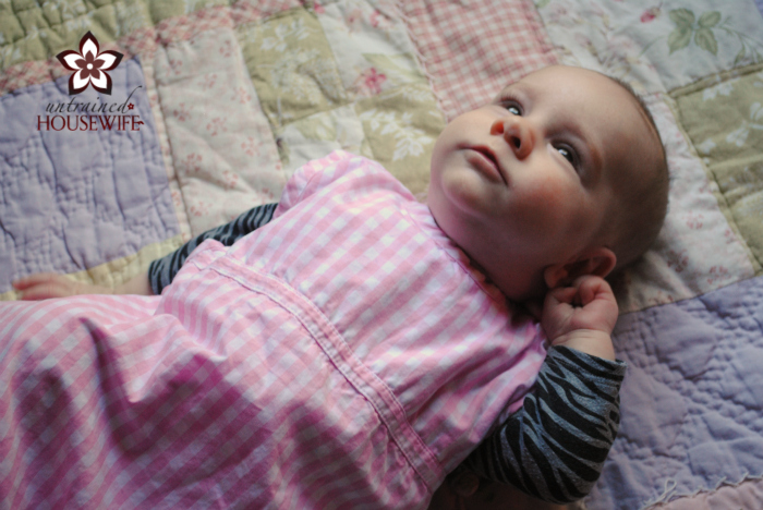 Baby Lily in the organic Merino sleep sack!