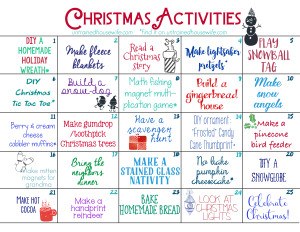 Untrained Housewife Family Activities Advent Calendar #Christmas #Free