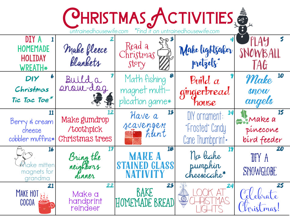 Advent Calendar Art Lesson : Family activities advent calendar free printable