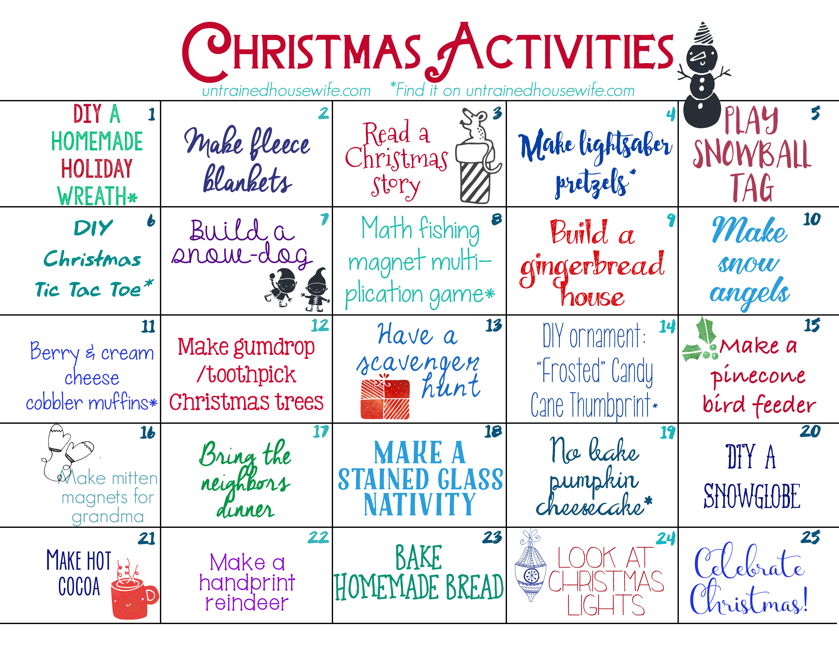 Calendar For Kids Activities : Family activities advent calendar free printable